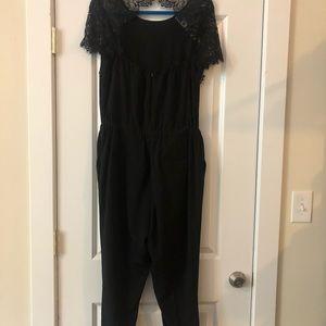 Ann Taylor loft lace jumpsuit black